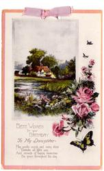 BEST WISHES FOR YOUR BIRTHDAY  TO MY DAUGHTER   inset rural scene, roses & butterfly lower border right