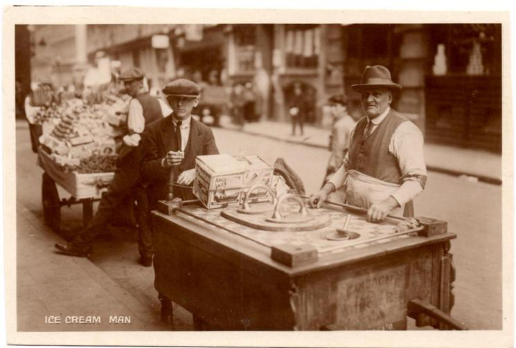ICE CREAM MAN on front, ICE CREAM VENDOR  on back REAL PHOTOGRAPH, PRINTED IN ENGLAND