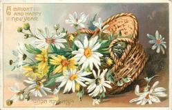 A BRIGHT AND HAPPY NEW YEAR basket of daisies