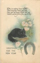 GREETINGS FOR THE NEW YEAR below black cat & flowers, silver horseshoe below right