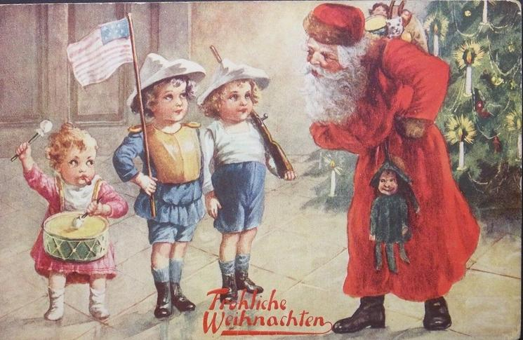 Santa inspects 3 children standing in front of Xmas tree