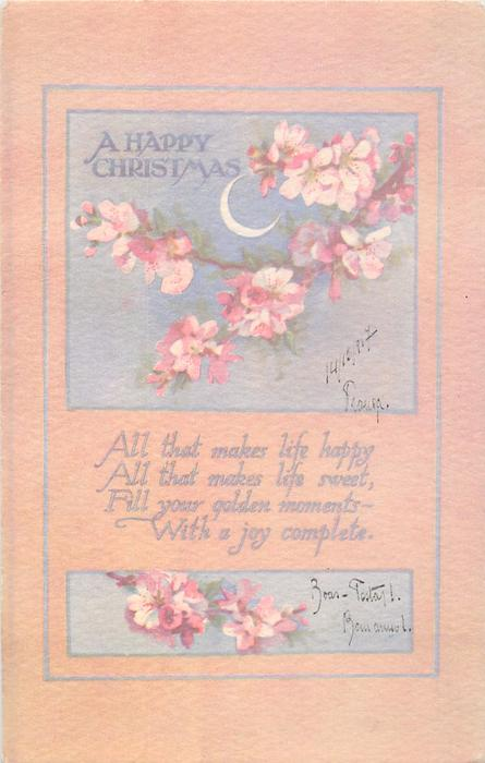 A HAPPY CHRISTMAS GREETING  pink blossom,  moonlit