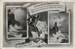 CHRISTMAS GREETINGS roses over clasped hands between 2  seascapes
