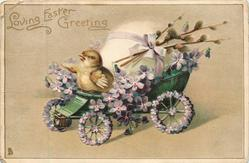 LOVING EASTER GREETING  chick drives violet covered egg-cart left