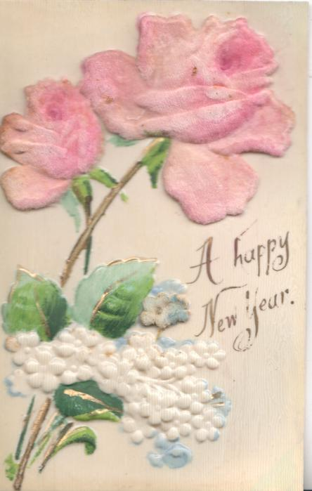 A HAPPY NEW YEAR 2 pink roses above white forget-me-nots