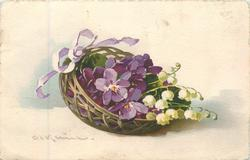 violets & lilies-of-the-valley in basket