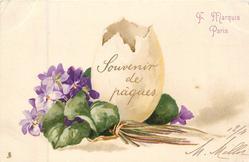 violets left, vertical egg shell open at top