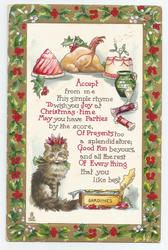 ACCEPT FROM ME THIS SIMPLE RHYME TO WISH YOU JOY AT CHRISTMAS TIME......tin of SARDINES