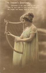 girl facing left plays old style harp, cloth draped over her right arm
