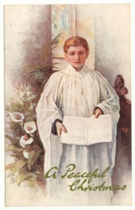choir-boy  holds hymnal with both hands, lilies left