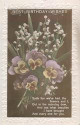 BEST BIRTHDAY WISHES, lilies-of-the-valley above pansies