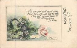 GREETINGS FOR YOUR BIRTHDAY right, floral inset, pink rose & violets left