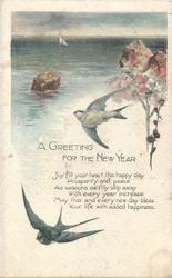 A GREETING FOR FOR THE NEW YEAR two swallows, seascape