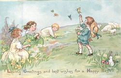LOVING GREETINGS AND BEST WISHES FOR A HAPPY EASTER chldren play on grass, dafffodils, sheep rabbit, butterflies