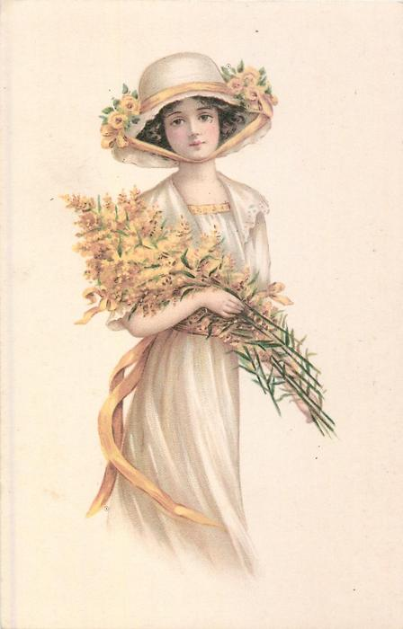 girl carries armful of golden-rod, yellow roses in hat-band