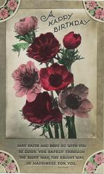 A HAPPY BIRTHDAY  at top, verse below, multicoloured anemones