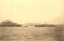 STEAMER APPROACHING PIER