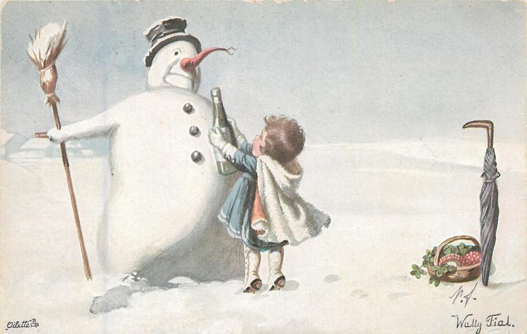 girl offers champagne bottle to snowman, umbrella, basket of mushrooms & clover front right