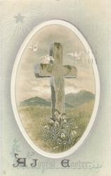 A JOYFUL EASTER  cross, snowdrops, three doves