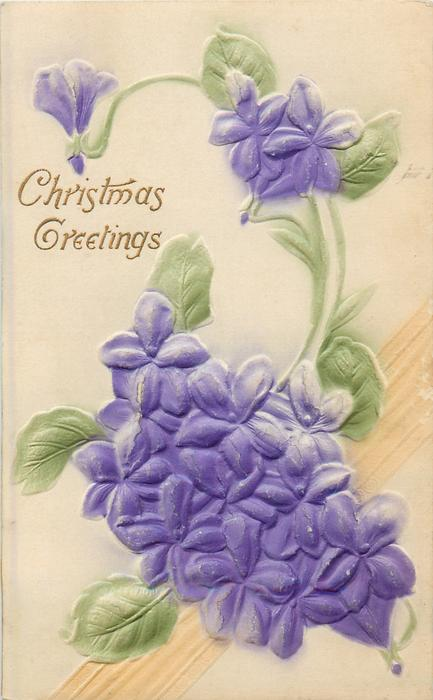CHRISTMAS GREETINGS violets, pale yellow background, diagonal embossing