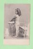nude young girl standing facing left, by washing bowl