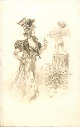 woman standing facing cupid on pedestal preparing to fire an arrow
