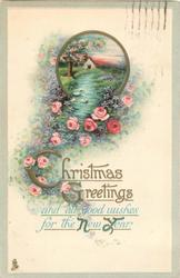 CHRISTMAS GREETINGS AND ALL GOOD WISHES FOR THE  NEW YEAR rural inset above cascading pink roses