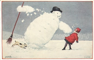 snowman holding broom topples over almost on top of small girl in red standing right leaning back to avoid him