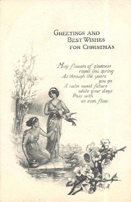 GREETINGS AND BEST WISHES FOR CHRISTMAS (fruit tree blossoms in foreground, 2 women & doves ...