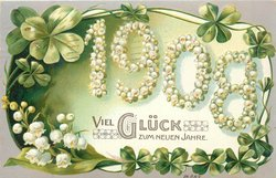 VIEL GLUCK ZUM NEUEN JAHR, lilies of the valley on white plaque 1908