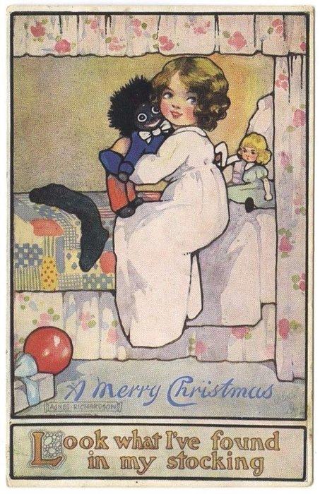 A  MERRY CHRISTMAS  girl cuddles black doll