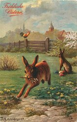 Easter bunny runs front with flowers in mouth, another guards eggs behind