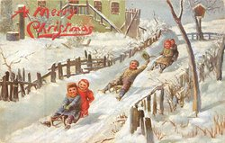 five children on three sleds, sliding down hill, scene
