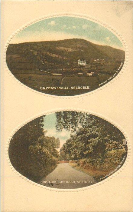 two oval insets  above BRYNGWENHALT, ABERGELE below ON LLANFAIR ROAD, ABERGELE