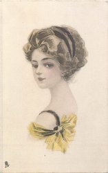 SEPIA MAIDENS head & shoulders study of brunette facing left looking half front, in yellow dress