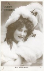 MISS MADGE LESSING head & shoulders, fur hat & cape, faces right looks front