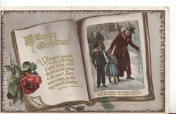A HAPPY CHRISTMAS inset scene from DICKENS-  A CHRISTMAS CAROL