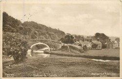 BOLTON-LE-SANDS only title, view of Bolton-le Sands, bridge left