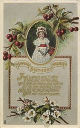LOVING BIRTHDAY WISHES verse  below, girl  & cherries above