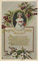 LOVING BIRTHDAY WISHES verse  below, girl  & cherries above