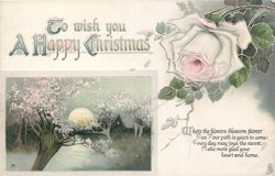 TO WISH YOU A HAPPY CHRISTMAS above moonlit rural inset, pink rose top right