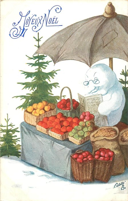 snow person sits reading at his fruit stall, xmas trees behind