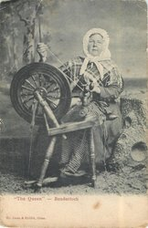"""THEQUEEN"" -- BENDERLOCH woman at spinning wheel"