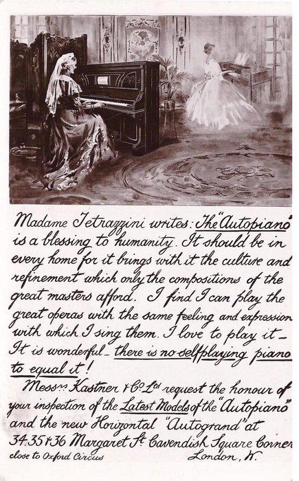 "inset above lengthy advert. MADAME TETRAZZINI WRITES: THE ""AUTOPIANO""..."