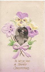 TO WISH YOU A HAPPY CHRISTMAS purple pansy design, surrounds photo-inset of girl