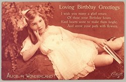 LOVING BIRTHDAY GREETINGS girl poses with book in left hand