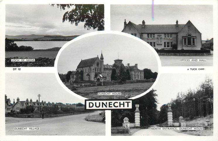 5 insets THE LOCH OF SKENE, OFFICES AND HALL, DUNECHT HOUSE, DUNECHT VILLAGE, NORTH ENTRANCE, DUNECHT HOUSE
