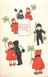 WARMEST CHRISTMAS WISHES  girl in red with clover, boy in black chimney sweep clothes