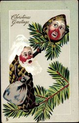 CHRISTMAS GREETINGS older Pine-Cone person with sack pulls on branch where another sits