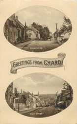 GREETINGS FROM CHARD, 2 insets CRIMCHARD and HIGH STREET